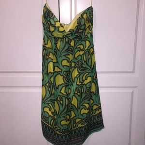 Milly of NY tropical strapless silk dress summer
